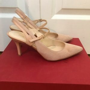 Nine West Pink Suede Pointed Toe Kitten Heel